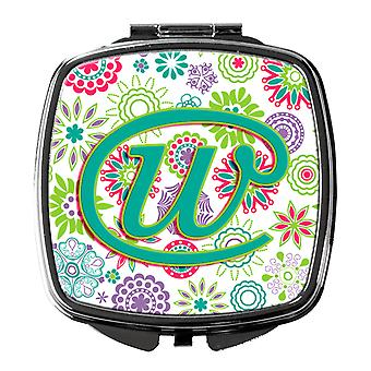 Letter W Flowers Pink Teal Green Initial Compact Mirror
