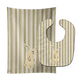 Carolines Treasures  BB7082STBU Rabbit on Stripes Baby Bib & Burp Cloth