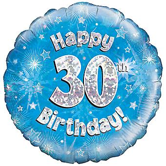 Oaktree 18 Inch Happy 30th Birthday Blue Holographic Balloon
