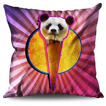 Panda Cone Space Animal Linen Cushion Panda Cone Space Animal | Wellcoda