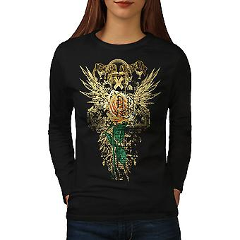 Unique Vintage Fashion Women BlackLong Sleeve T-shirt | Wellcoda