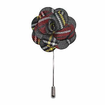 Light Grey Tartan Handmade Flower Lapel Pin, Buttonhole, Corsage, Boutonniere