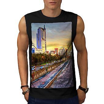 River Metropolis City Men BlackSleeveless T-shirt | Wellcoda