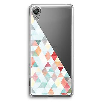 Sony Xperia XA1 Transparent Case (Soft) - Coloured triangles pastel