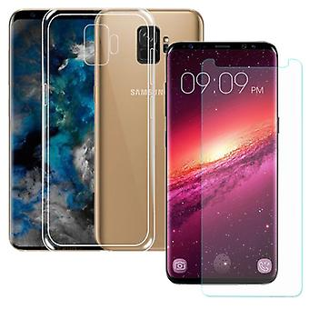 Silikoncase zak transparant + tank Protector voor Samsung Galaxy S9 G960F hoes product set