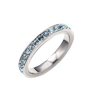 Alliance ring adorned with Blue Swarovski crystals