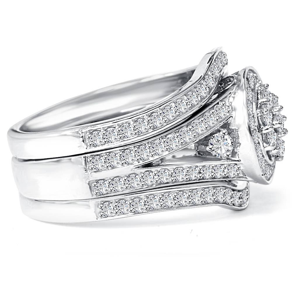 1.00CT Halo Diamond Engagement Trio Wedding Guard Ring Set White Gold