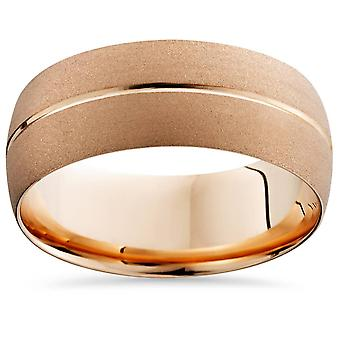 14K Rose Gold Mens Brushed Single Groove Wedding Band 8mm
