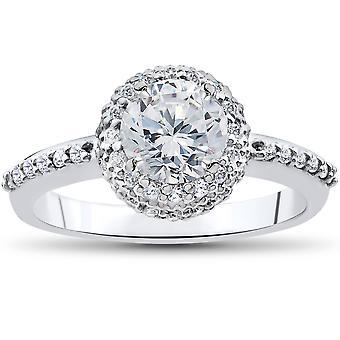 1 1 / 4ct diamante anel de noivado 14K ouro branco