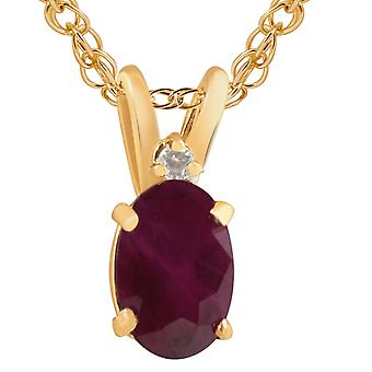 Oval Ruby & Diamond Solitaire Pendant 14 KT Yellow Gold With 18