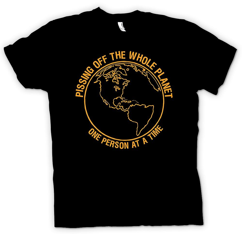 Mens T-shirt - Pissing off the whole planet, one person at a time
