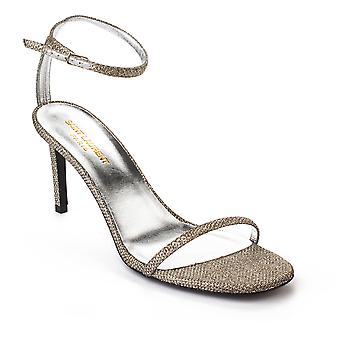 Saint Laurent Women's Ankle Strap High Heels Shoes Silver
