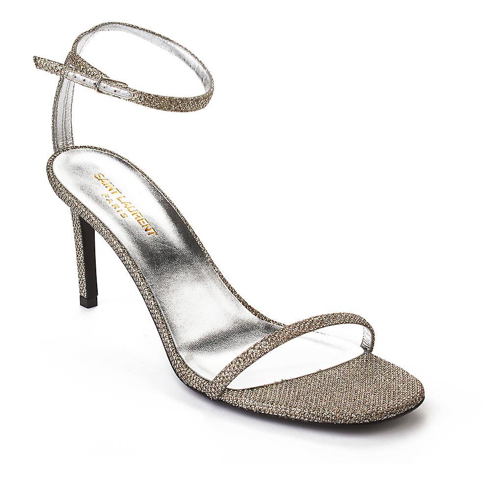 Saint Laurent Women's Ankle Strap High Heels Shoes Silver