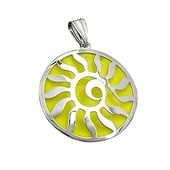 Silver backed Sun pendant with lumineszierendem yellow 925 Silver rhodium-plated