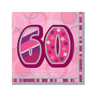 Verjaardag Glitz roze - 60e verjaardag - lunch servetten