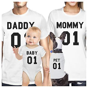 Family White Matching Shirts Dad Mom Son Daughter Pet Family White T-Shirt Gift