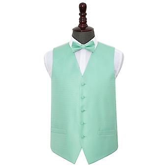 Mint Green Greek Key Wedding Waistcoat & Bow Tie Set