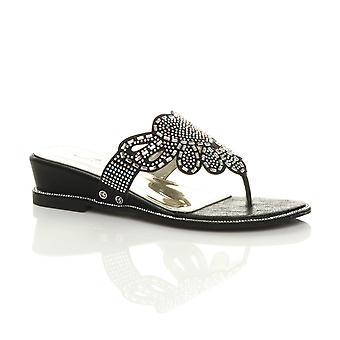 Ajvani womens low mid wedge heel diamante evening toe post sandals mules
