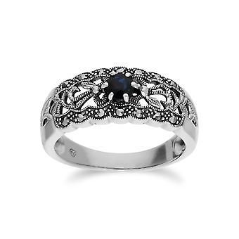 Gemondo Sterling sølv Sapphire & Marcasite Art Nouveau Ring