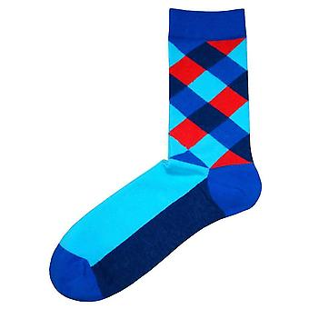Bassin and Brown Multi Check Socks - Blue/Navy/Red
