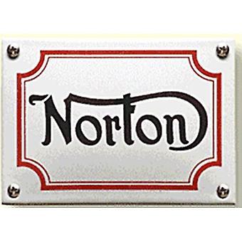 Norton Logo Vitreous Enamel Steel Badge (Grey) (Gs 140 Mm X 100Mm)