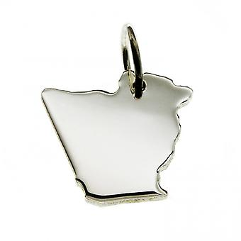 Trailer map Algeria pendant in solid 925 Silver