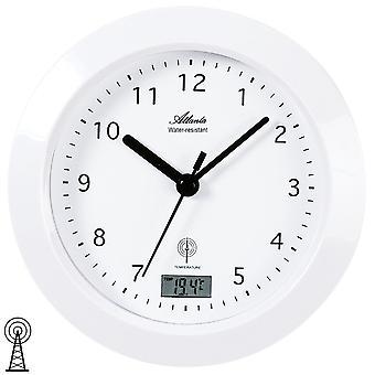 Atlanta 4204/0 wall clock bathroom clock radio analog white water protected with thermometer