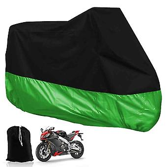 XXL Motorcycle Folding Tarpaulin For Garage Outdoors Waterproof Black and Green- With Pocket 265 X 105 X 125cm