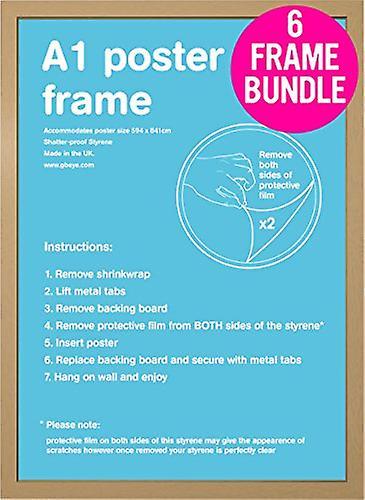 GB affiches 6 A1 chêne Poster Frames 59,4 x 84,1 cm Bundle