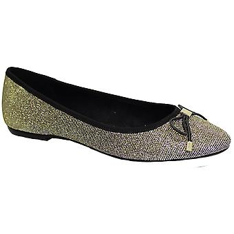 Cheers Evening Pumps Glitter Sparkle Stud Bow Accent Slip On Flat Shoes