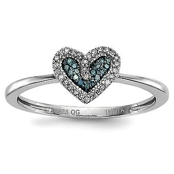 925 Sterling Silver Open back Gift Boxed Rhodium-plated Blue and White Diamond Heart Ring - Ring Size: 6 to 8