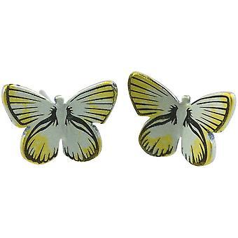 Orecchini farfalla di medie del terreno boscoso del titanio TI2 - giallo