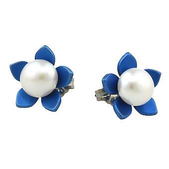TI2 titanio grande fiore e orecchini di perle - Blu Navy