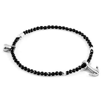 Anchor and Crew Tropic Spinel Silver and Stone Bracelet - Black