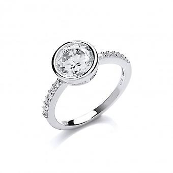 Cavendish French Round Solitaire Ring on Cubic Zirconia Band