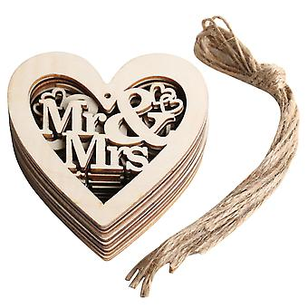 TRIXES Mr & Mrs Hanging Wooden Rustic Heart Wedding Craft Decorations Pack of 10