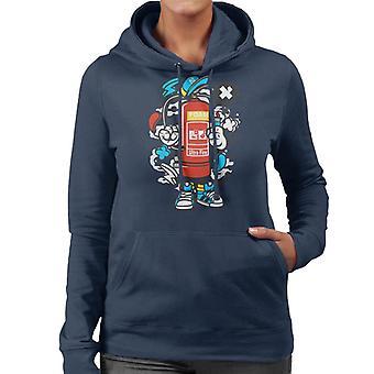 Feuerlöscher Kerl Damen Sweatshirt mit Kapuze
