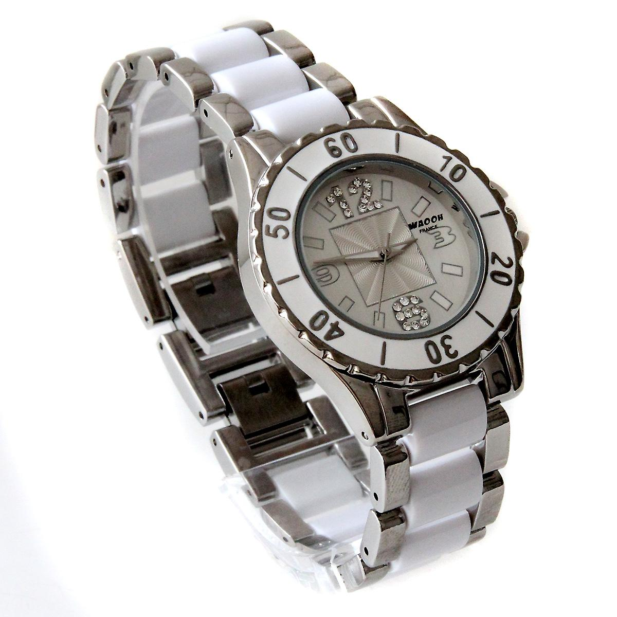 Waooh - mesh metal and rhinestones Watch