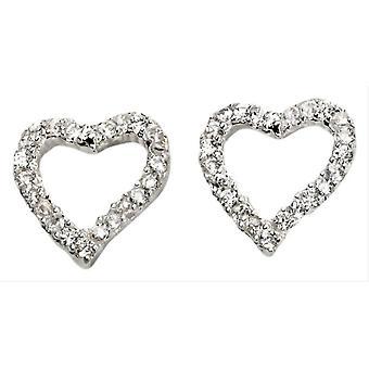 Beginnings Pave Open Heart Earrings - Silver