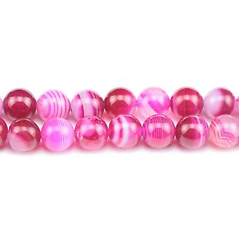 Strand 38+ Fuchsia Banded Agate 10mm Plain Round Beads GS0265-3