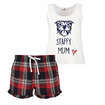 Staffy Mum Ladies Tartan Frill Short Pyjama Set Staffordshire Bull Terrier Red Blue or Green Blue