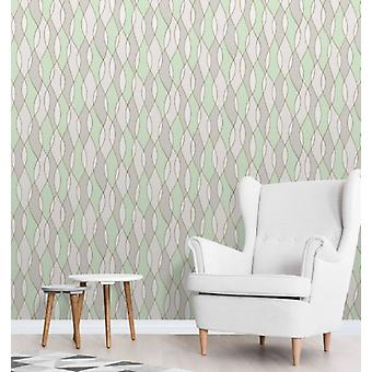 Elegant Apex Wave Sidewall Green Gold Wallpaper Wall Decoration 0.52m x 10.05m