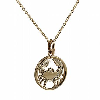 9ct Gold 11mm pierced Cancer Zodiac Pendant with a cable Chain 20 inches