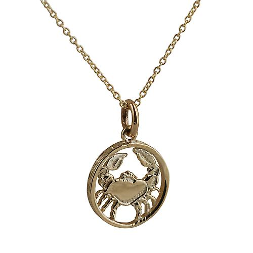 9ct Gold 11mm pierced Zodiac pendant Cancer with Cable link Chain