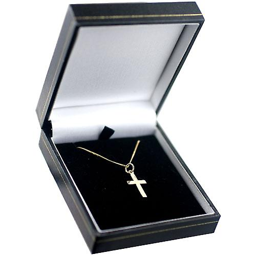 9ct Gold 17x11mm plain milled edge latin Cross with a curb Chain 20 inches