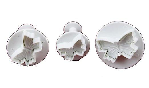 Set of 3 Small Plungers Veined Butterfly Cutters Sugarcraft