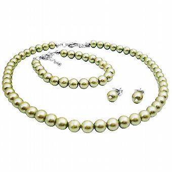 Wedding Flower Girl Jewelry In Beautiful Pistachio Pearls Jewelry