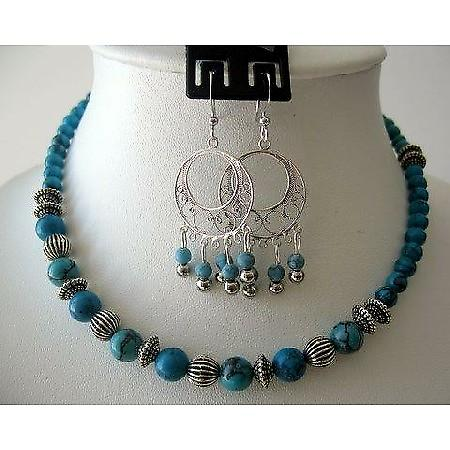 Handcrafted Necklace Set Turquoise Beads Bali Silver Sterling Earrings