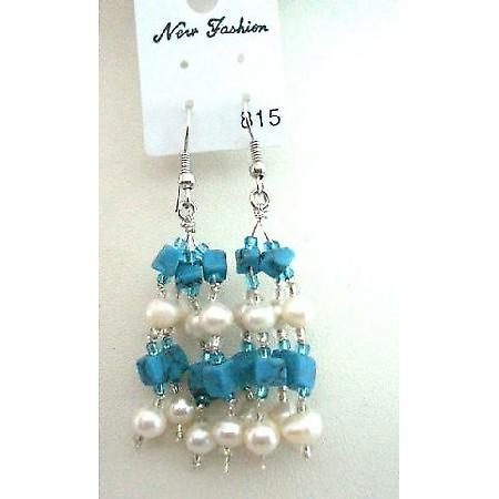 Turquoise Beads & Freshwater Pearl w/ Glass Beads Dangling Earrings