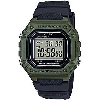 Casio digital watch quartz men with black resin strap W-218H-3AVEF